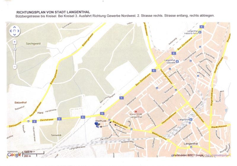 Anfahrtsplan Langenthal