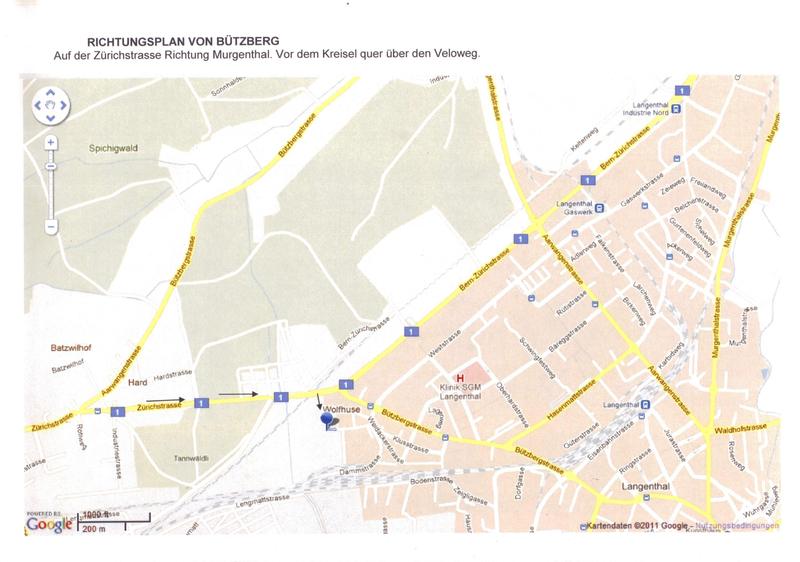 Anfahrtsplan von Bützberg
